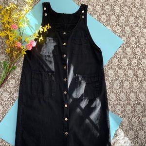 VINTAGE BLACK JEAN MAXI DUSTER DRESS